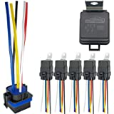 IRHAPSODY 5 Pack 80/60 AMP Waterproof Relay and Harness - Heavy Duty 12 AWG Tinned Copper Wires, 12 V DC 5-PIN SPDT Bosch Sty
