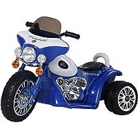 Homcom Moto électrique pour Enfants Chopper Police 6 V env. 3 Km/h 3 Roues Effet Lumineux et sonore Bleu