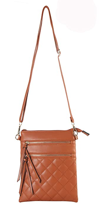 bf53b1c5d5ca Image Unavailable. Image not available for. Color  Diophy PU Leather  Quilted Pattern Front Double Zipper Pocket Cross Body Handbag ...
