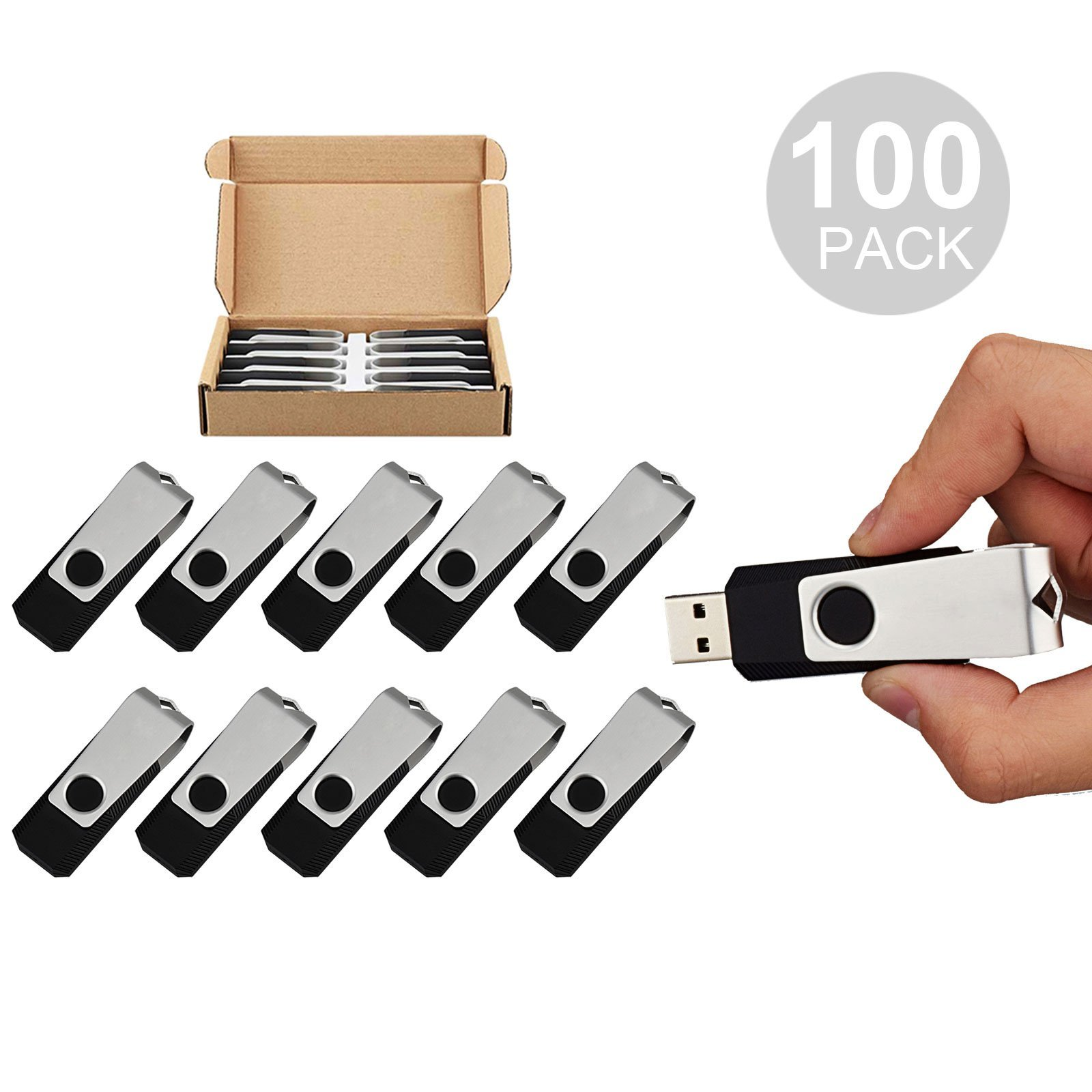 TOPESEL 100PCS 16GB Bulk USB 2.0 Flash Drive Swivel Memory Stick Thumb Drives Pen Drive (16G, 100 Pack, Black)