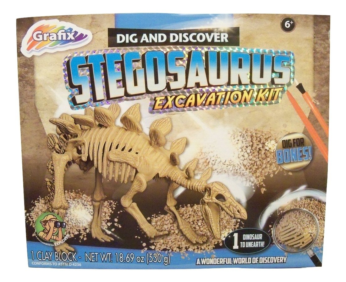 Dig and Discover Dinosaur Excavation Kit ~ Stegosaurus (8 Bones, 1 Clay Block, Tools and Instructions; Ages 6+) by Dig and Discover RMS International