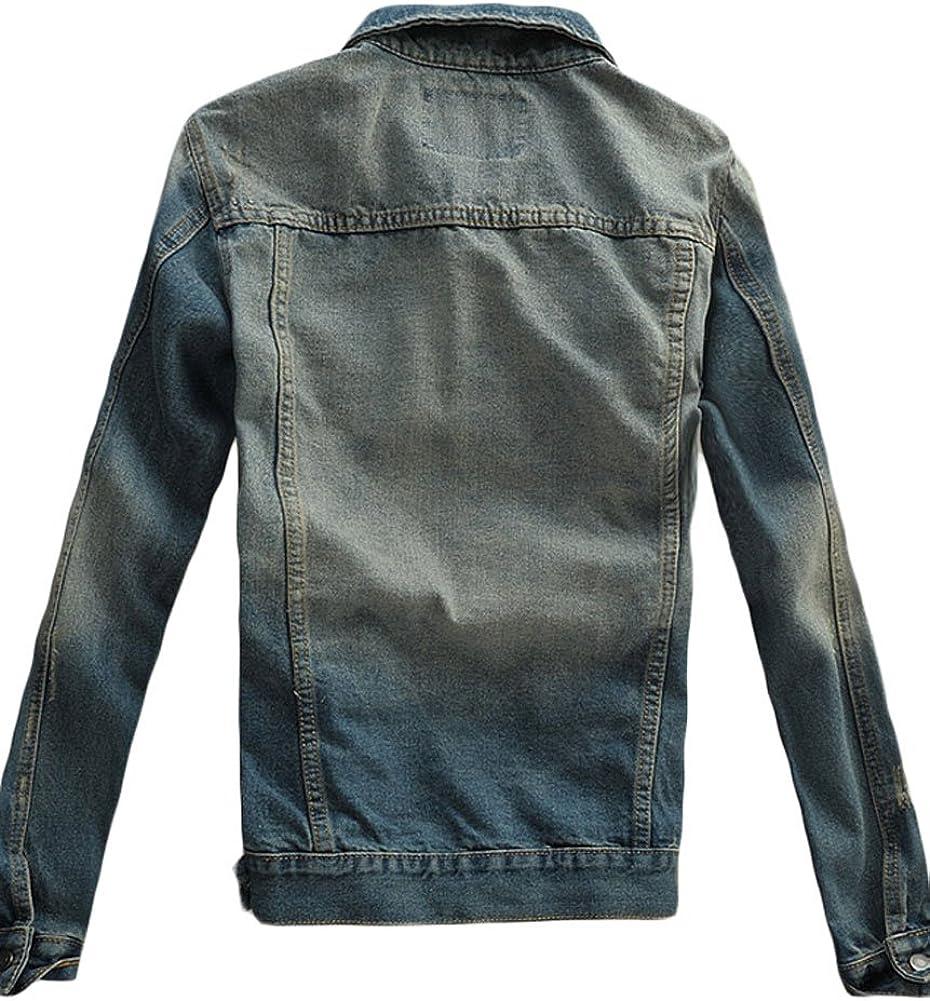 Joe Wenko Mens Denim Coat Business Jean Casual Lapel Collar Blazer Jackets