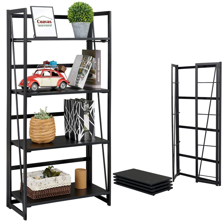 Coavas Folding Bookshelf Home Office Bookcase No-Assembly Storage Shelves 4 Tiers Flower Stand Metal Book Rack Organizer,60x30x125CM,Black