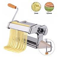 COSTWAY Manuelle Nudelmaschine Pastamaschine Pastamaker Spaghetti Nudeln Pasta Maker Küche Maschine Edelstahl Silber/Breite: 2mm und 4,5mm / 6 Einstellbare Stärken