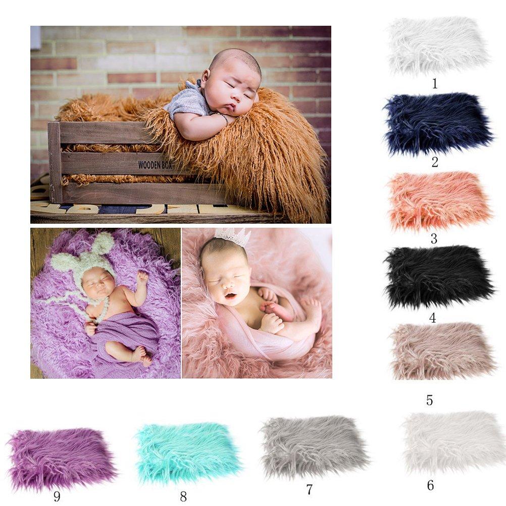 OULII Baby Photo accessoires fourrure douce couette photographique Mat bricolage b/éb/é nouveau-n/é Photographie Photo Wrap-b/éb/é accessoires faveurs blanc