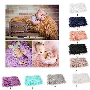 2er-Pack DIY neugeborenes Baby Fotografie Wrap-Babyfoto Requisiten Gef/älligkeiten OULII Lange Wellen Wrap lila + Beige