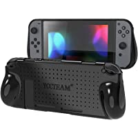 YCCTEAM Protective Case for Nintendo Switch, Heat Dissipation Comfortable Soft Shockproof Handheld Cover Grip Case Silicone Gel Rubber Full Body Protector for Gamepad Mode (Black)