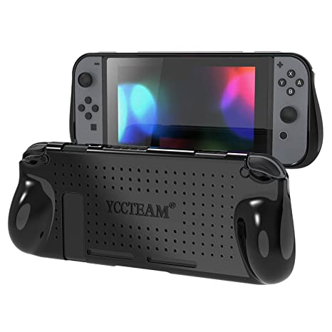 Yccteam Protective Case For Nintendo Switch, Heat Dissipation Comfortable Soft Shockproof Handheld Cover Grip Case Silicone Gel Rubber Full Body Protector For Gamepad Mode (Black) by Yccteam