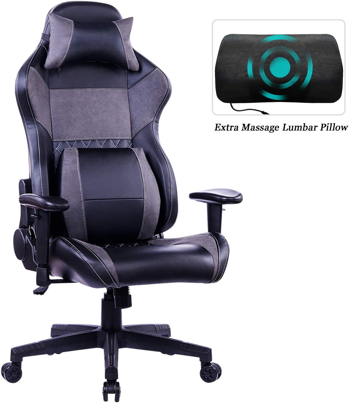 HEALGEN Gaming Office Chair with Large Lumbar Support,Reclining High Back Ergonomic Memory Foam Desk Chair,Racing Style PC Computer Executive Leather Chair with Headrest GM8260 Grey