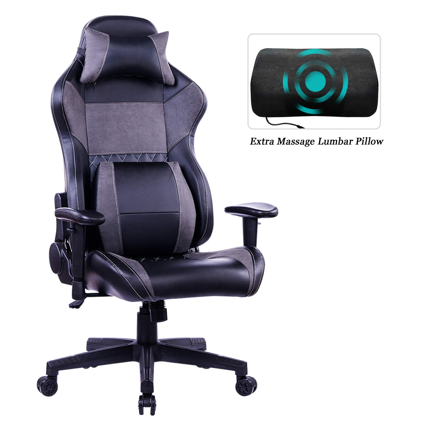 HEALGEN Gaming Office Chair with Large Lumbar Support,Reclining High Back Ergonomic Memory Foam Desk Chair,Racing Style PC Computer Executive Leather Chair with Headrest GM8260 (Grey) by HEALGEN