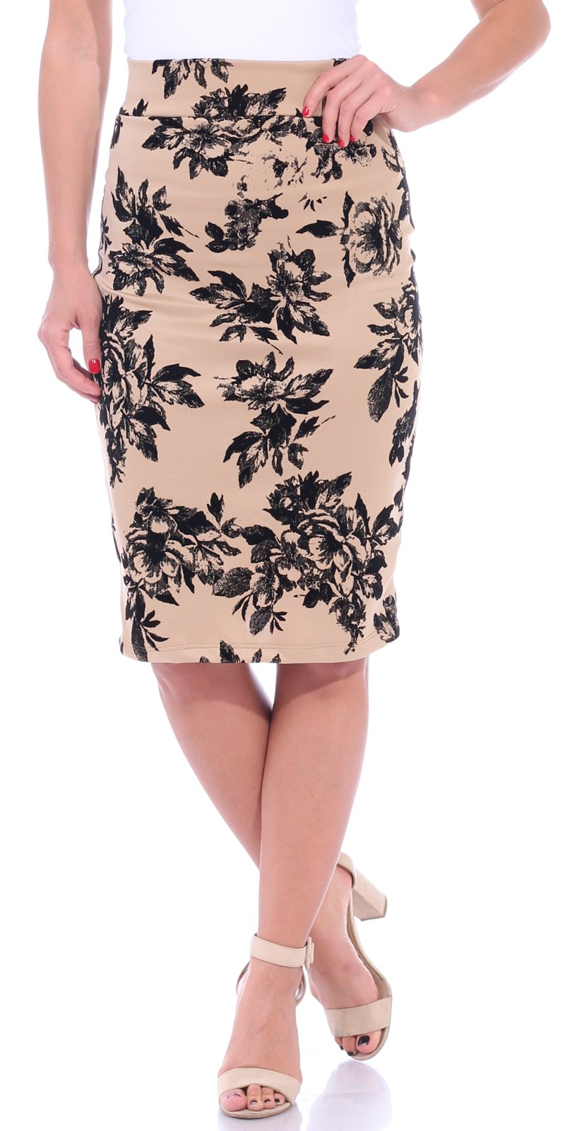 Popana Women's Stretch Pencil Skirt Knee Length High Waist for Work Made in USA Large Cream