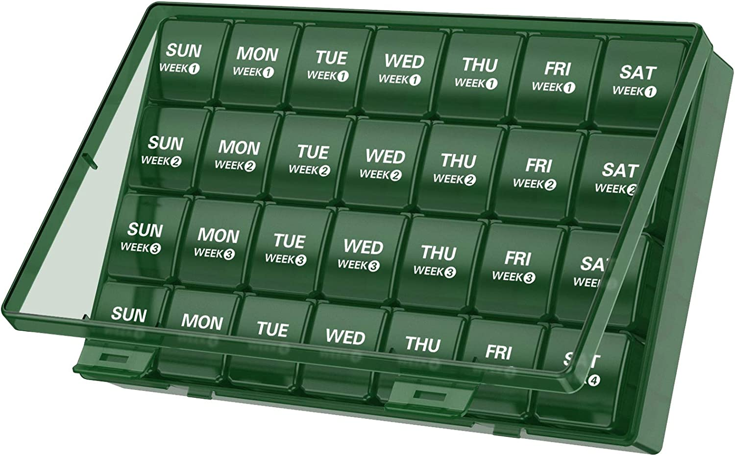 Large Monthly Pill Organizer 28 Day Pill Box Organizerd by Week, TookMag Large 4 Weeks One Month Pill Cases with Dust-Proof Box for Pills/Vitamin/Fish Oil/Supplements (Green)