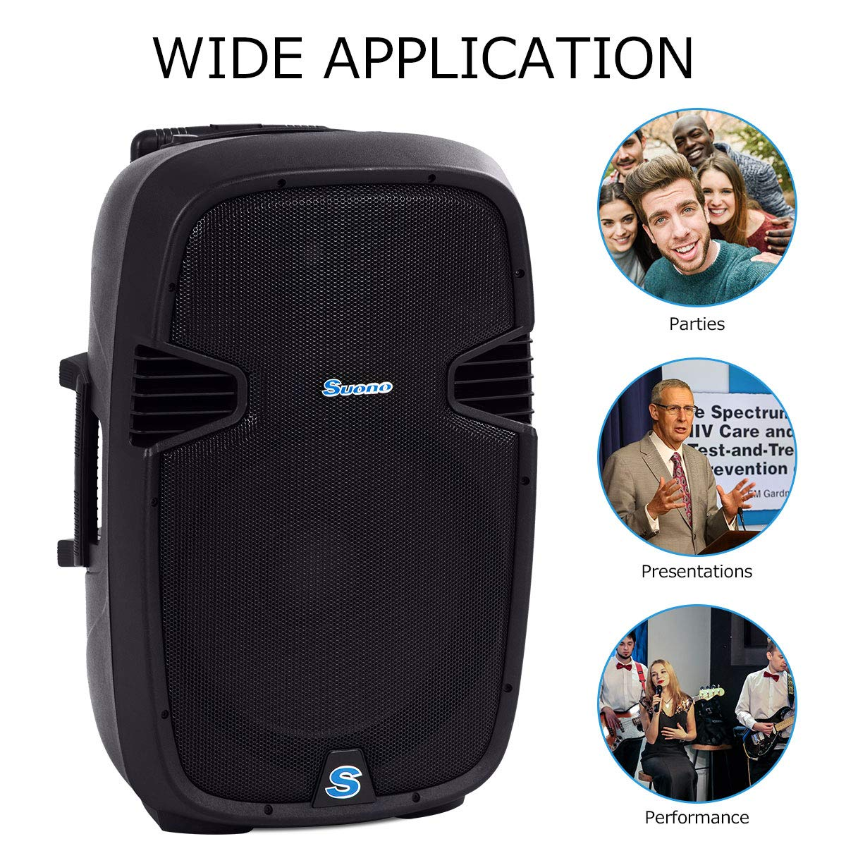 Suono Powered Speakers, 2-Way Full Range Portable DJ/PA Speaker System Set With Microphones/USB/Bluetooth (15'' 1000W) by Suono (Image #2)