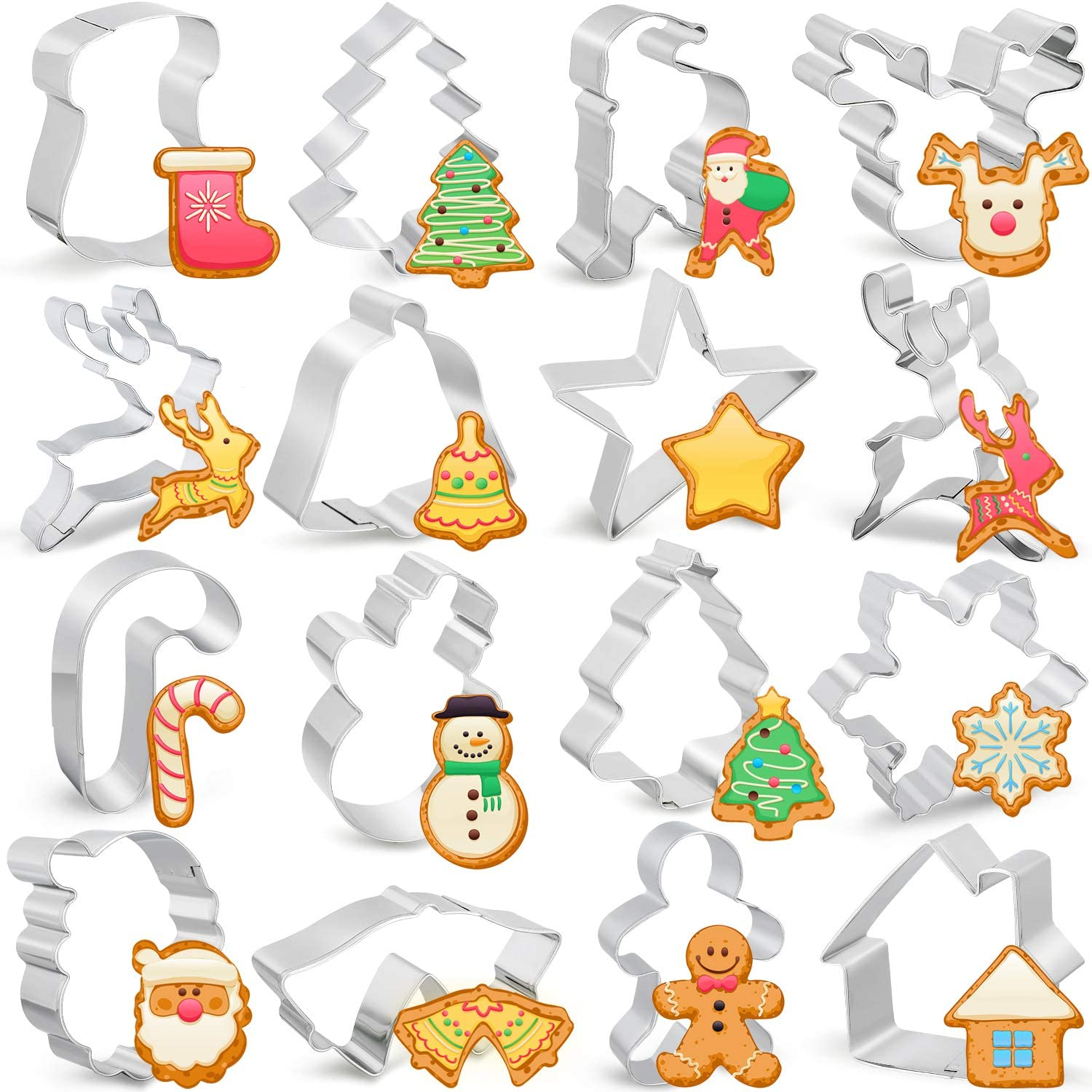 16 Pieces Christmas Cookie Cutters Creative Cookie Molds Stainless Steel Cookie Cutters for Christmas Party Home Kitchen Supplies