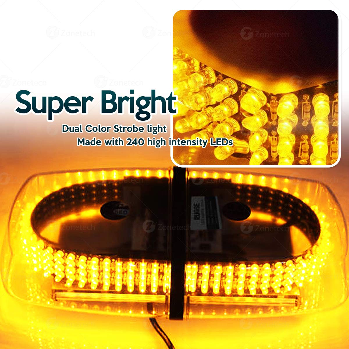 Premium Quality Heavy Duty Amber Emergency Hazard Warning LED Mini Bar Strobe Light w//Magnetic Base 4333283890 Zone Tech Emergency Warning LED Mini Bar Strobe Light