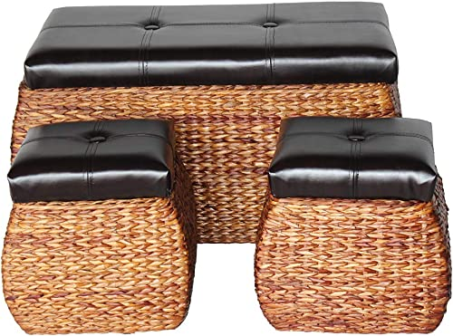 YK Decor 3set Woven Storage Ottoman Padded Ottoman Bench Storage Chest Side Ottoman Square Cube Foot Rest Stool Seat
