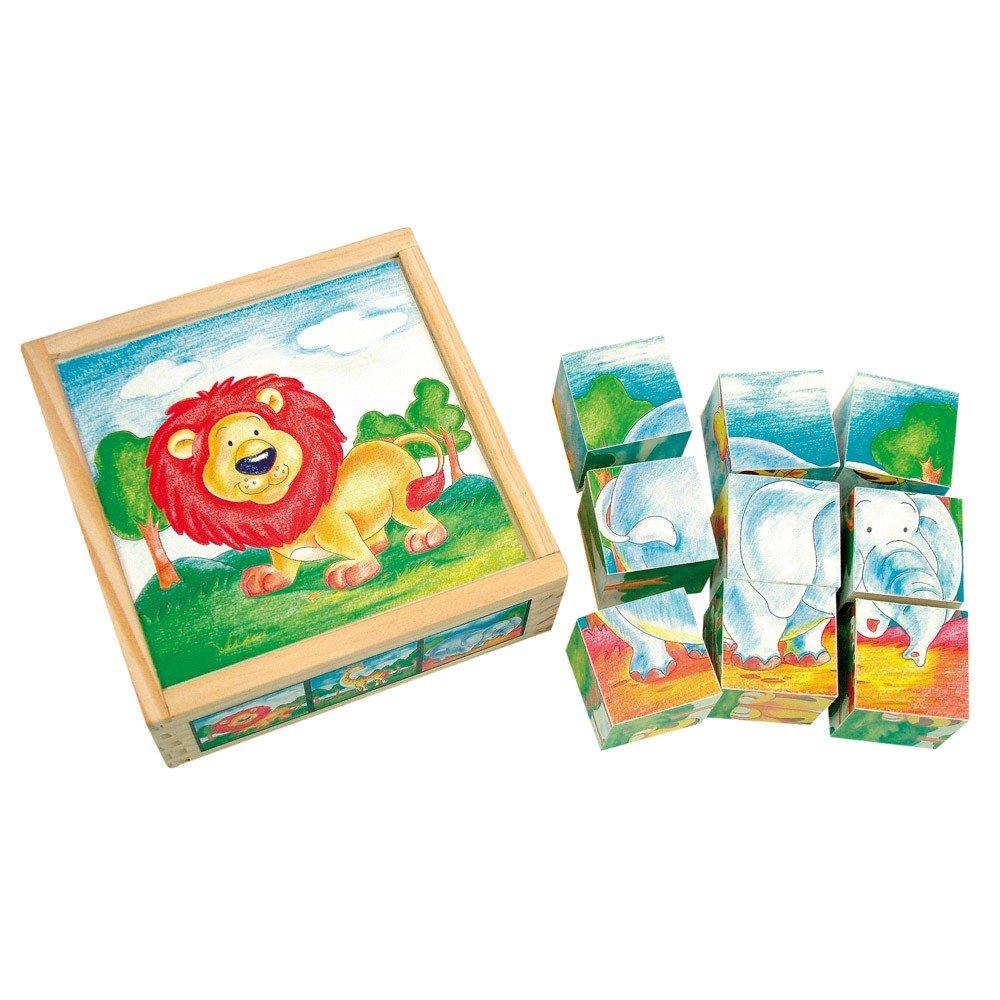 Bilderwürfel Wildtiere, 9 tlg. * 9 Würfel mit 3 Motiven und passenen Motivbildern in einer stabilen Holzbox , ca. 13x13x3,5 cm * Grösse:13 x 5 x 13 cm Bilderwürfel Wildtiere MaMeMi