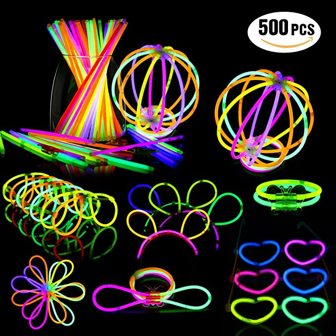 "Geekper Glow Sticks Bulk 200 Count - 8"" Premium Glow In The Dark Light Sticks - Makes Tons of Glow Necklaces and Glow Bracelets"