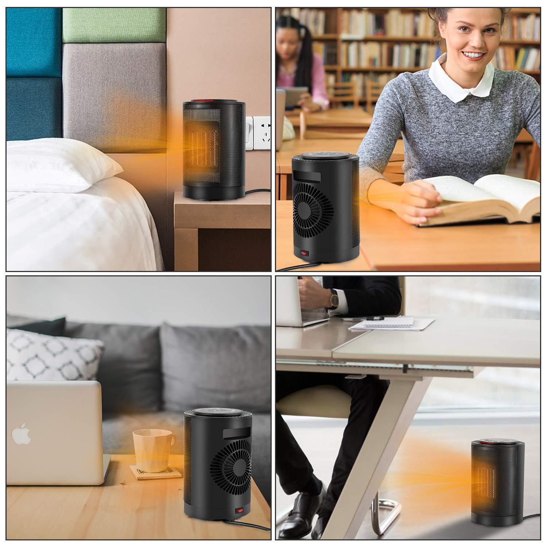 Einstellbar Thermostat und 70/° Oszillation f/ür Kleines Zimmer 1200W//600W 3 Heizstufen 2 Sekunden Arbeit Sendowtek Mini Heizl/üfter Energiesparend Kleine Keramik Heizung mit Kippen Ausschalten