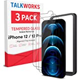 TALK WORKS iPhone 12 Screen Protector (Also Fits iPhone 12 Pro) 3 Pack, Installation Tray, Premium Tempered Glass Durable 0.3