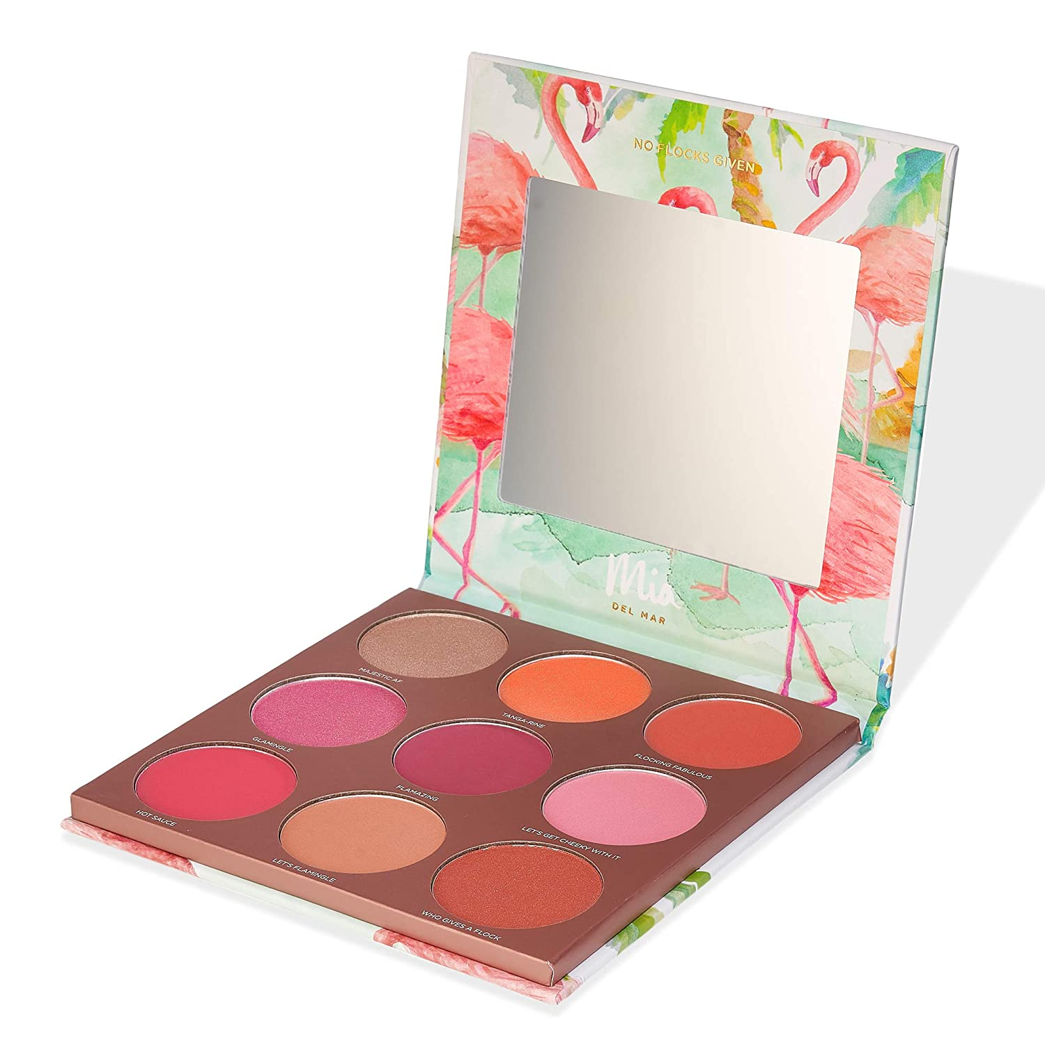 Flamingoals Blush Palette – 9 Shades of Reds and Pinks For All Skin Tones. Vegan And Clean Skin Care.