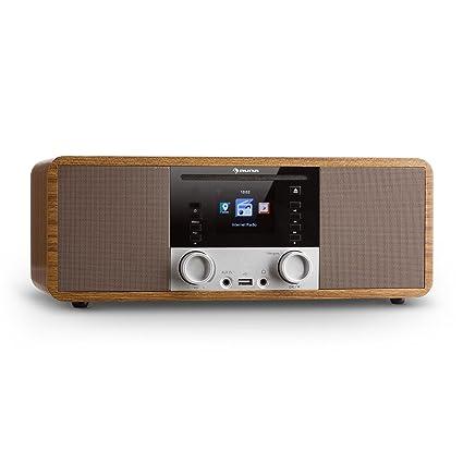 Fernbedienung /• Eiche UKW Radio /• Internet-Radio mit WLAN /• K/üchenradio /• Bluetooth /• 2 x 8 Watt RMS /• USB /• App-Steuerung /• AUX /• Weckfunktion /• inkl auna Silver Star Stereo Internet DAB+