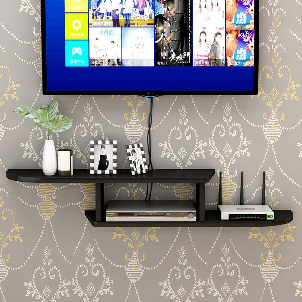 TriGold Wooden Floating Tv Console,Asymmetric Wall Mounted Media Console for Cable Box WiFi Router Modern Home Decor Storage Shelf Black 90x22x15cm(35x9x6inch)
