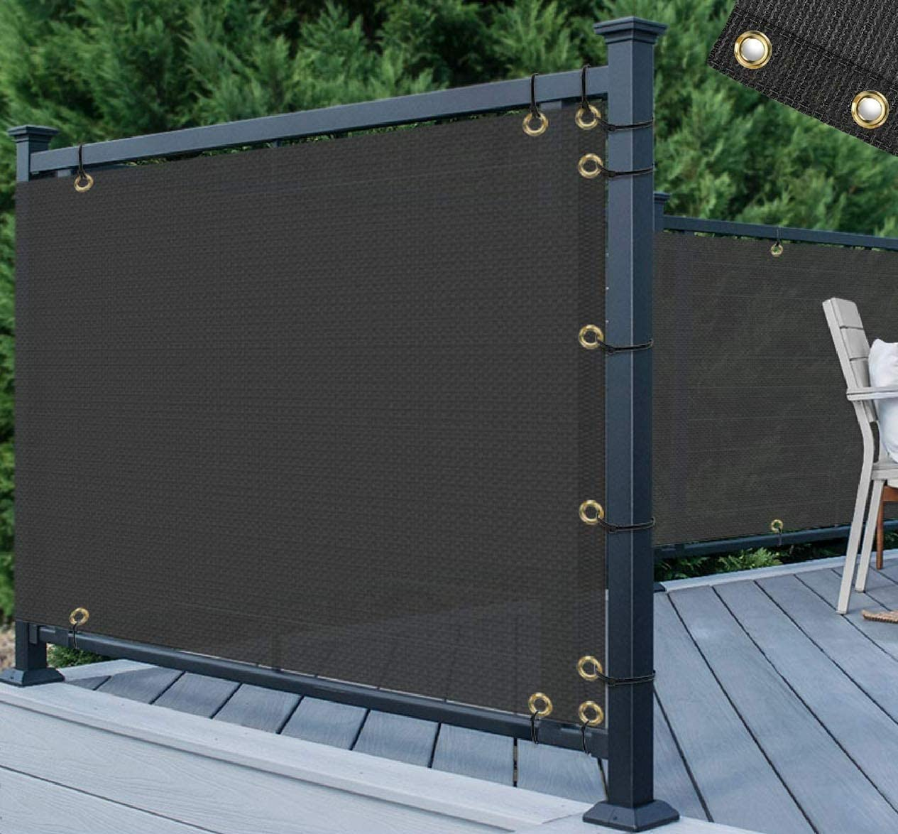 TANG 3' x 15' Black Residential Commercial Privacy Deck Fence Screen 200 GSM Weather Resistant Outdoor Protection Fencing Net for Balcony Verandah Porch Patio Pool Backyard Rails
