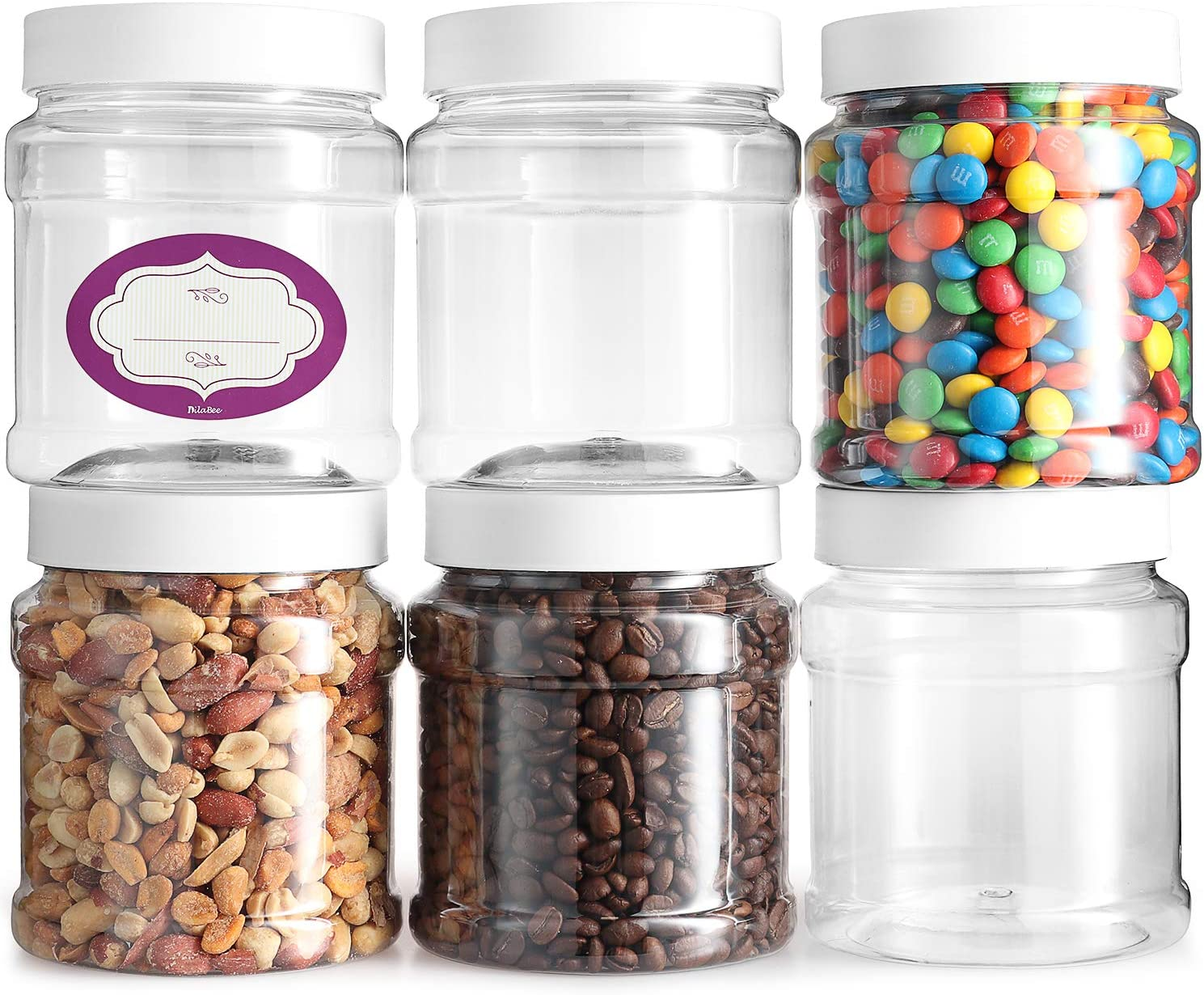 Clear Empty Plastic Storage containers with Lids - Round Pantry Containers - Clear Jars Come with Air Tight Lids and Labels – BPA Free Plastic Jar - Paint Storage Containers (6 Pack 32 Oz)