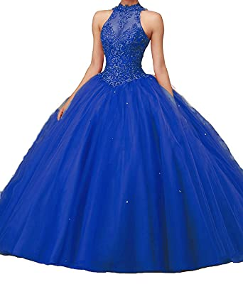c674e6e5828 Bonnie Shop Bonnie Women s Beaded Lace Bodice Ball Gowns Long Puffy Prom  Quinceance Dresses BS027