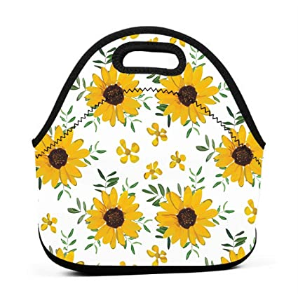 66d3ef7c4cbd Amazon.com - ONUPMIN Vintage Yellow Sunflower Lunch Bag Waterproof ...