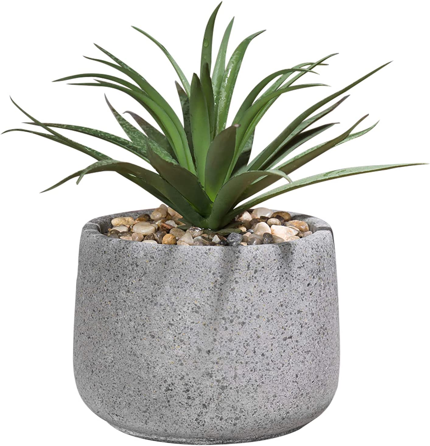 Mygift Decorative Faux Agave Artificial Greenery Plant In Speckled Gray Cement Pot Home Kitchen