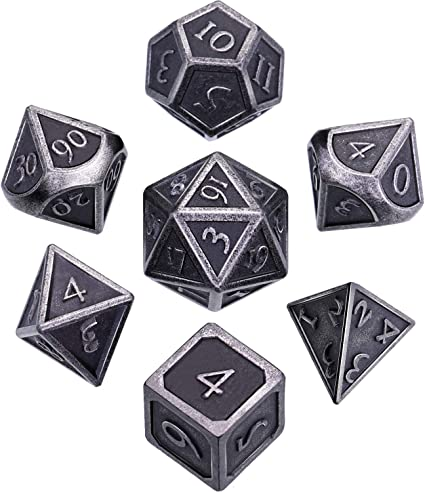Vintage Metal Dices Set DND Game Polyhedral Solid Metal D/&D Dice Set  for Role Playing Game Dungeons and Dragons Tabletop Games