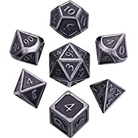 Hestya 7 Pieces Metal Dices Set DND Game Polyhedral Solid Metal D&D Dice Set with Storage Bag and Zinc Alloy with Enamel for Role Playing Game Dungeons and Dragons, Math Teaching (Ancient Nickel)