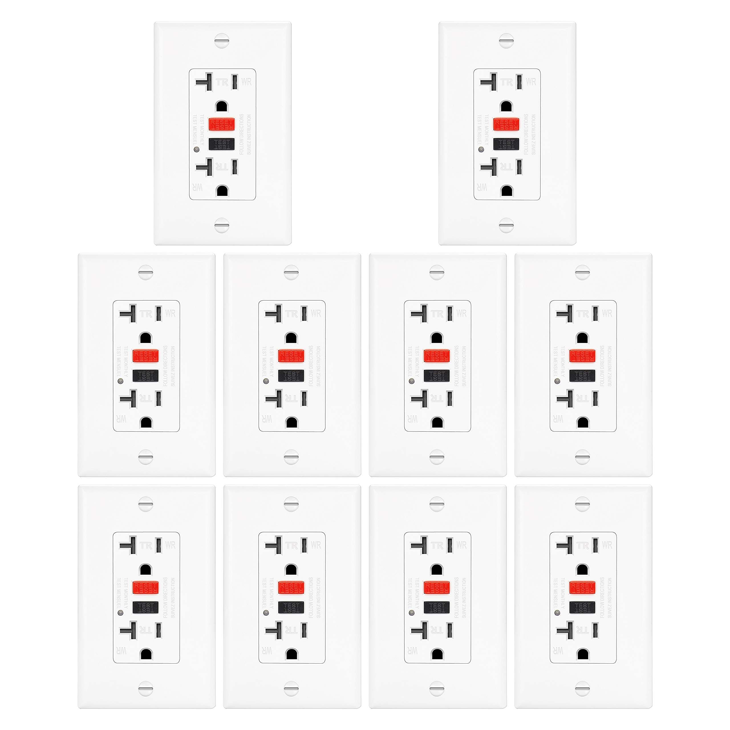 10 Pack - ELECTECK 20A WR GFCI Outlet, TR GFI Receptacle with LED Indicator, Weather and Tamper Resistant, Decorator Wall Plate Included, Residential and Commercial, ETL Certified, White by ELECTECK