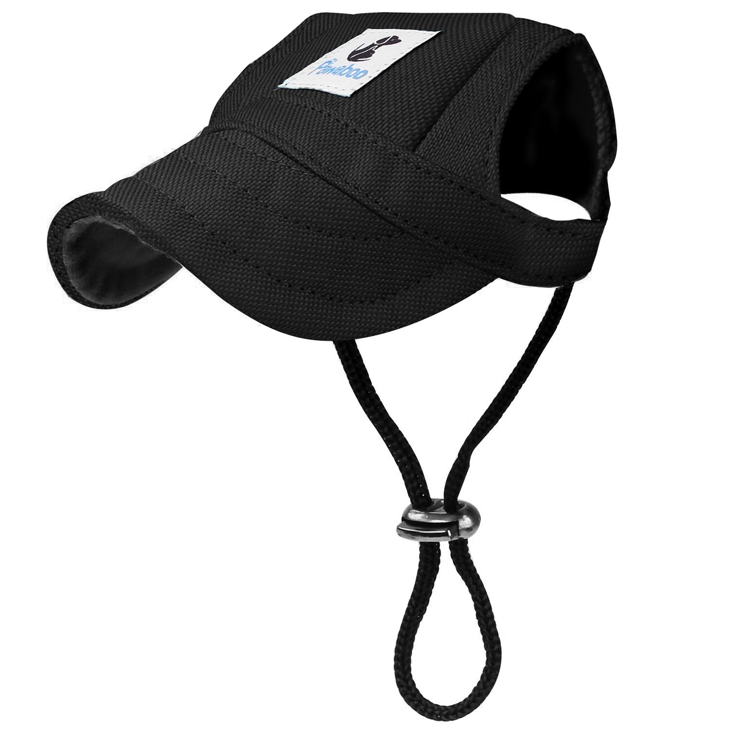 Pawaboo Dog Baseball Cap Black Adjustable Pet Sun Outdoor Sport Visor Dog Baseball Hat with 2 Ear Holes and Chin Strap for Large Size Dogs