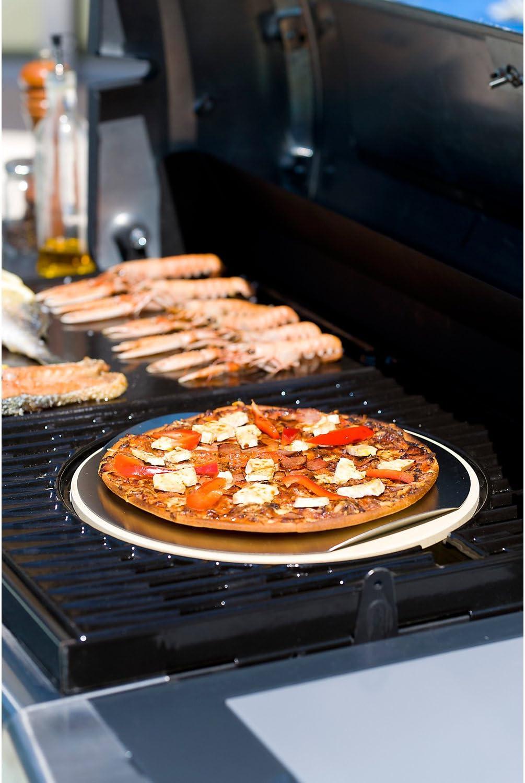 Campingaz Modulo Culinario Piedra de Pizza, para Horno y Parilla con Tabla de Madera y Cortador de Pizza, Ø 33 cm
