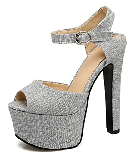 SHOWHOW Damen Sexy Plateau Peep Toe Cut Out High Heels Pumps
