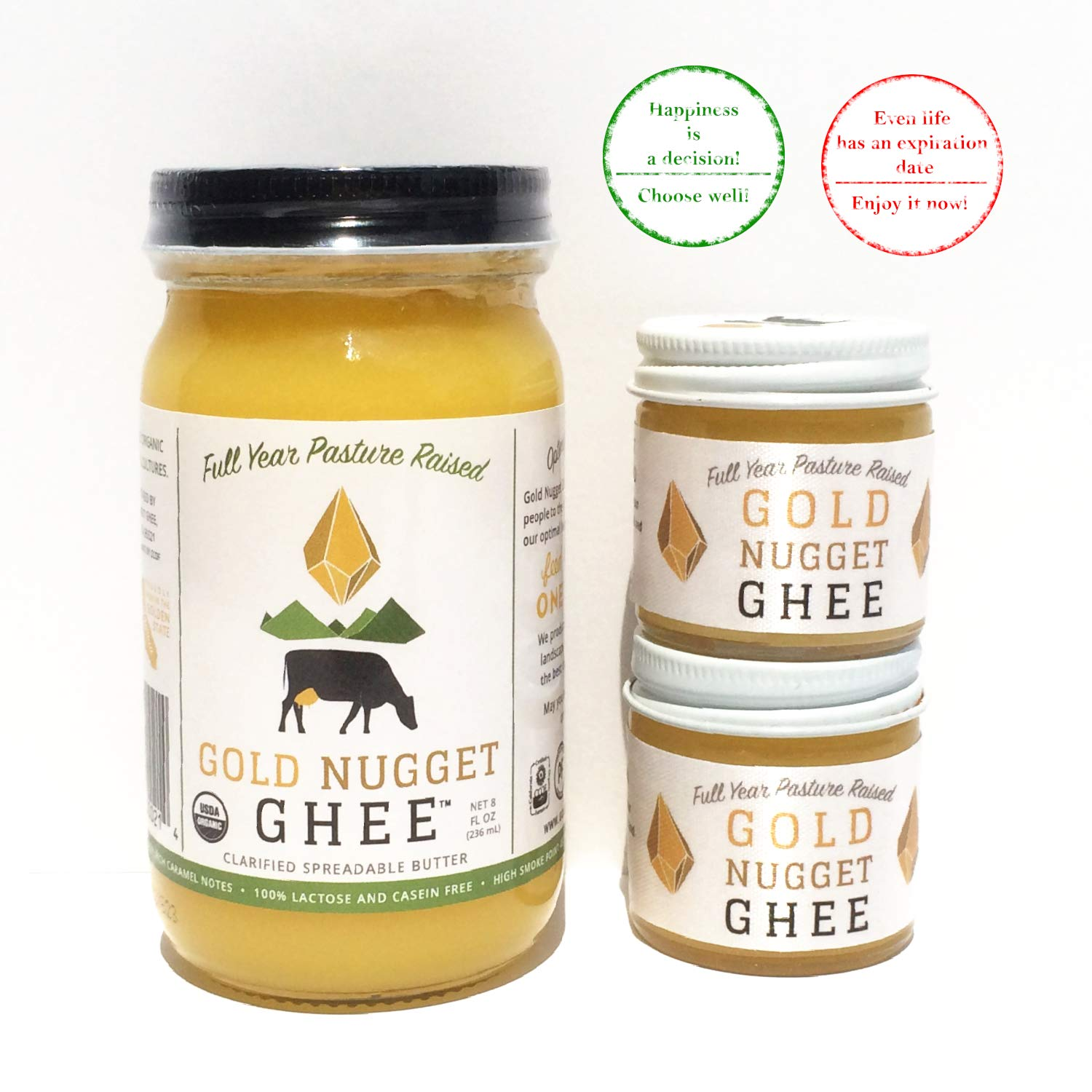 Gee Butter Organic | Gold Nugget Full Year Pasture Raised Organic Ghee | 1 Jar 8oz + 2 Travel Size Jars 1oz | Grassfed Pure Organic Ghee for Coffee & Cooking