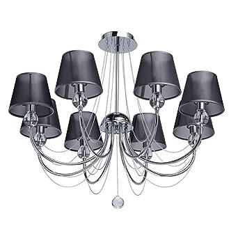 E14 Color Color Cromo Pantallas 684010408 8 Lámpara de Bombillas Techo MW Grafito Organdí de 8 Light x 40W de Luces BdxrCoe