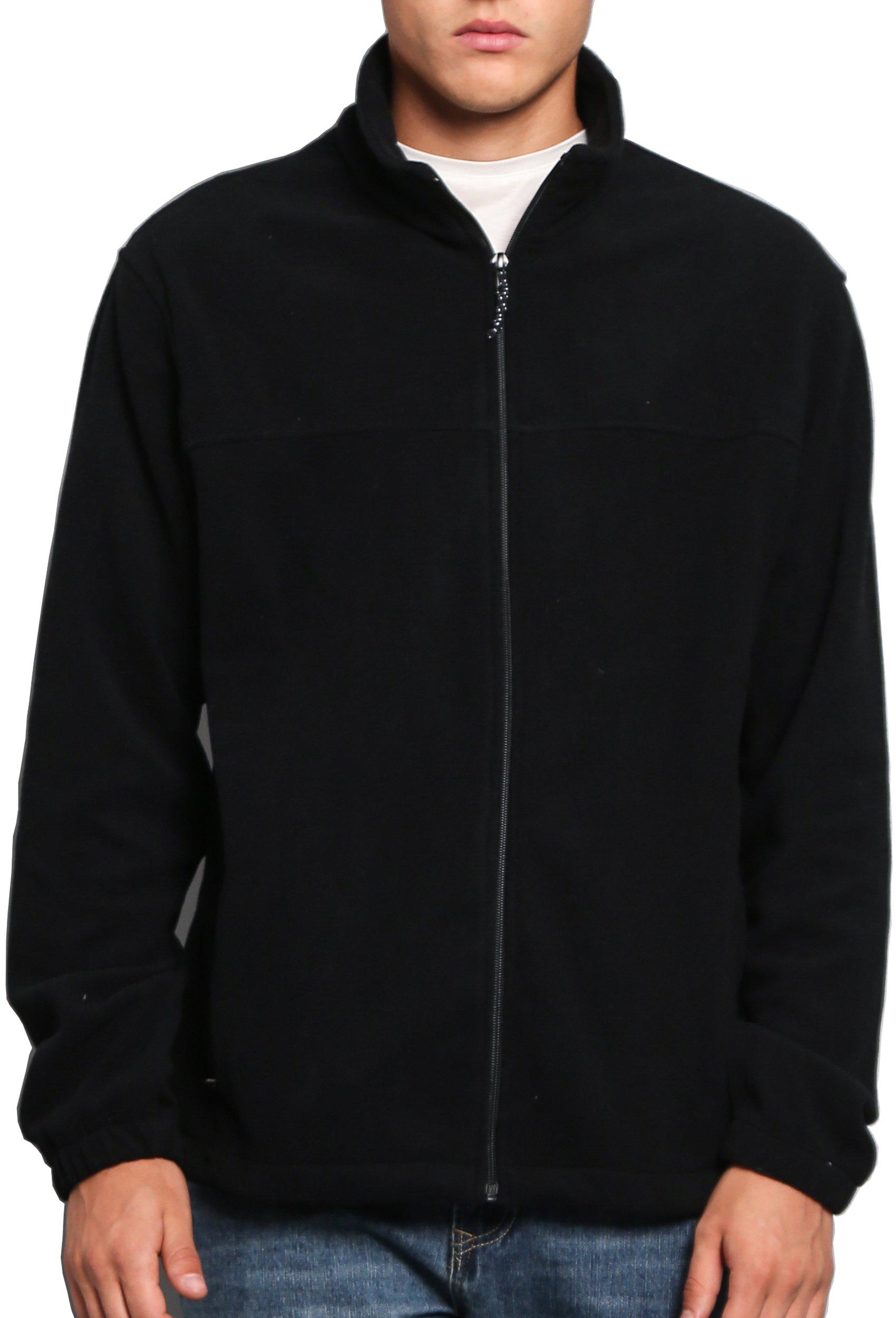 Oalka Men Spring Fall Sport Full Zip Fleece Jackets Black S by Oalka