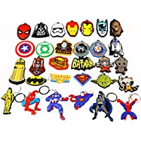 Airgoesin 30pcs Keychain Ring Hang Superhero Christmas Gift Holiday Charms for Children Party Theme Birthday Favors Goody Bags & School Carnival Reward Prizes Decoration Supplies