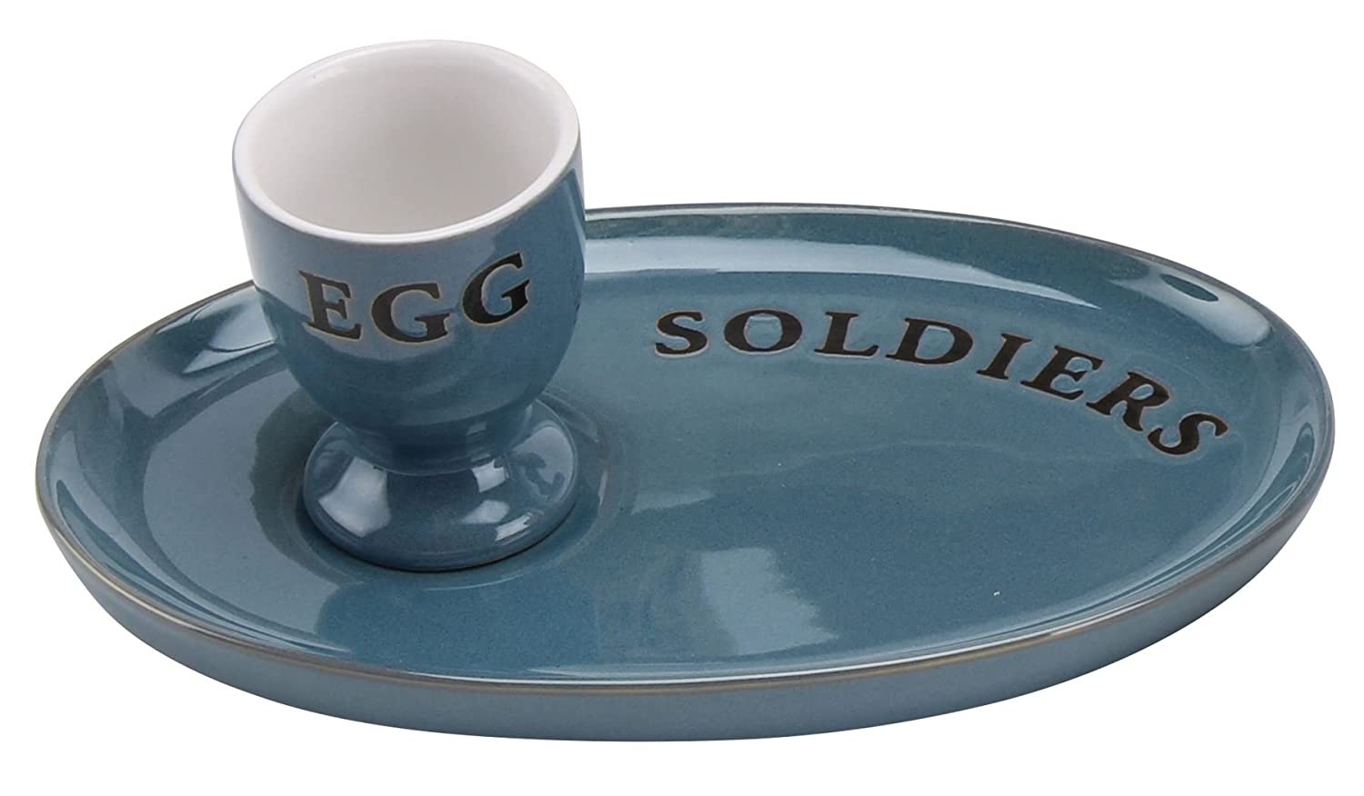 Country Kitchen Ceramic Egg And Soldiers Plate And Egg Cup Set ~ Blue Carousel Home