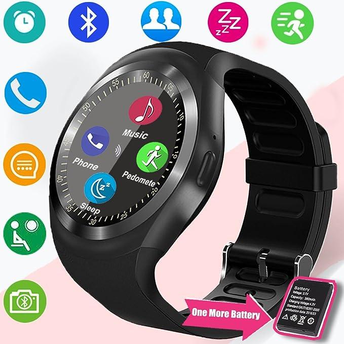turnmeon Bluetooth reloj inteligente con ranura para tarjeta SIM TF Cámara podómetro Monitor de sueño reloj inteligente Touch para mujer Lady Hombres ...