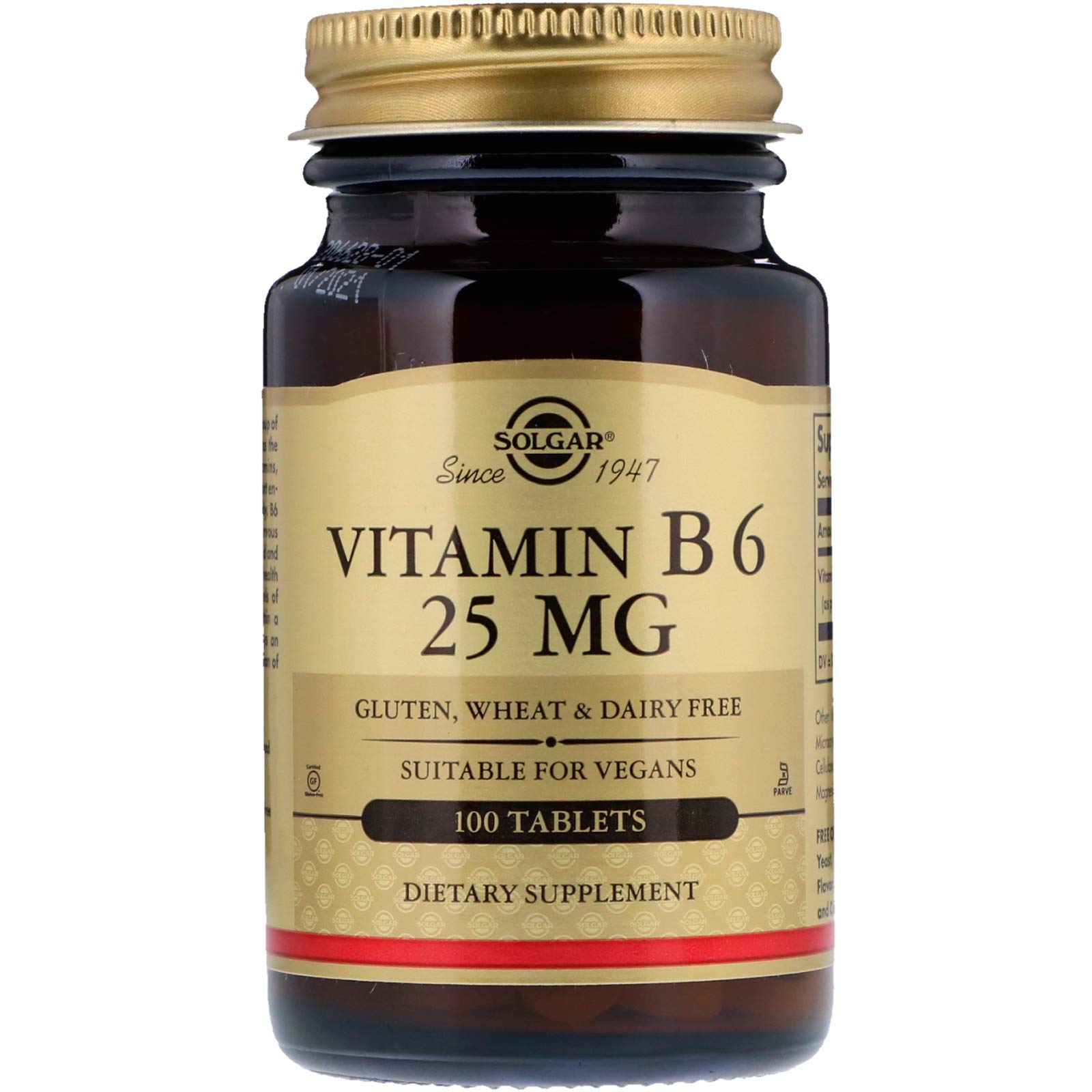Solgar – Vitamin B6, 25 mg, 100 Tablets