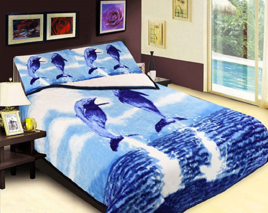 3 Piece Luxury Sherpa Blanket Sumptuously Soft Plush Blue water Dolphin print Faux Fur Borrego / Microfiber Reversible Winter Blankets (Queen)