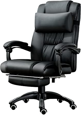JL Comfurni Fauteuil de bureau ergonomique pivotant en cuir