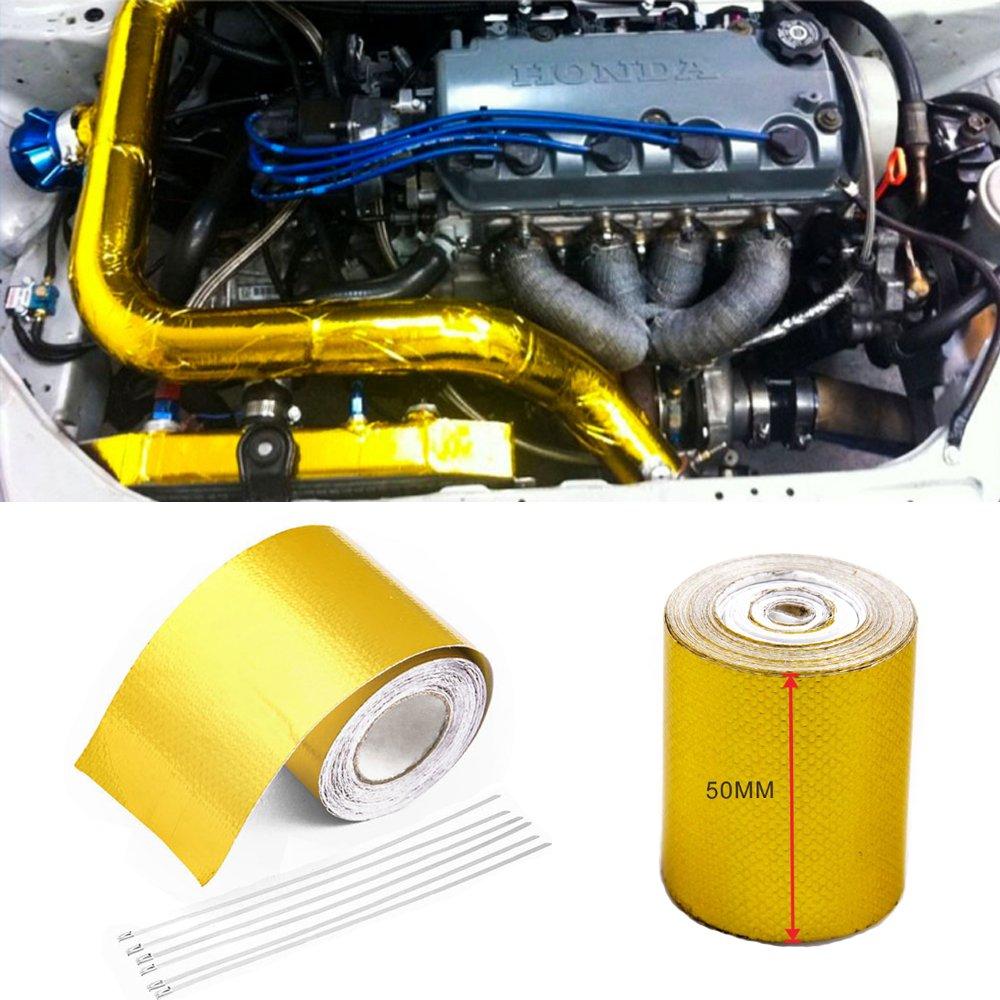 con 6 fascette in alluminio 5 m x 5 cm Nastro adesivo di protezione dal calore Orel/_carparts