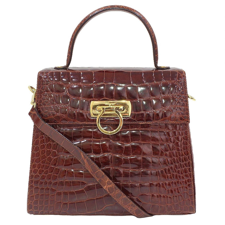 (フェラガモ)Ferragamo ガンチーニ クロコレザー ハンドバッグ 袋 中古 B071S5HN1Z