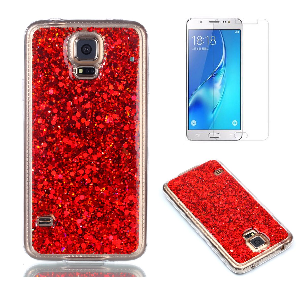 Fit for Samsung Galaxy S5 / S5 Neo Glitter Case with Screen Protector, OYIME [Silver Sequins] Shiny Bling Luxury Design Clear Ultra Thin Soft Rubber Protective Back Cover Transparent Scratch Resistant Drop Protection Bumper